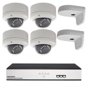 A-cam actie set 4 x Dome + recorder (2 megapixel)