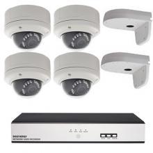 A-cam actie set 4 x Dome + recorder (3 megapixel)